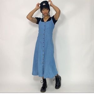 1990's Vintage Long Button Down Denim Dress